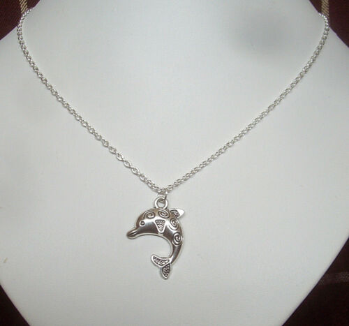 """Cute Dolphin Charm Pendant 18/"""" Chain Necklace in Gift Bag"""