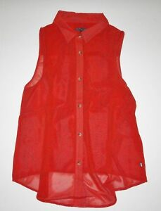 New-Vans-Womens-Oak-Street-Sheer-Sleeveless-Woven-Top-Shirt-Medium