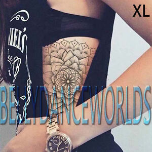 Dotwork Mandala Lotus Flower Tribal Temporary Tattoo Shoulder Neck