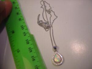 Cadena-De-Plata-Maciza-18-034-amp-increible-en-forma-de-pera-fulgurante-opalo-Y-Diamante-034-cubicas