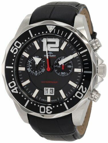 Rotary Aquaspeed Silver Stainless Steel Black Leather Mens AGS90050/C/04 £250