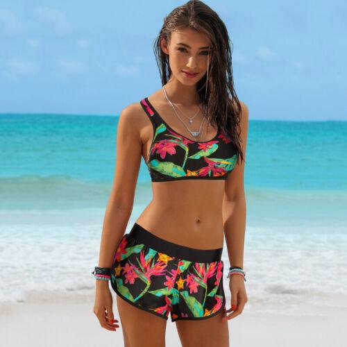 Womens Sporty Bikini Set Push-up Crop Top Boy Shorts Tankini High Waist Swimwear