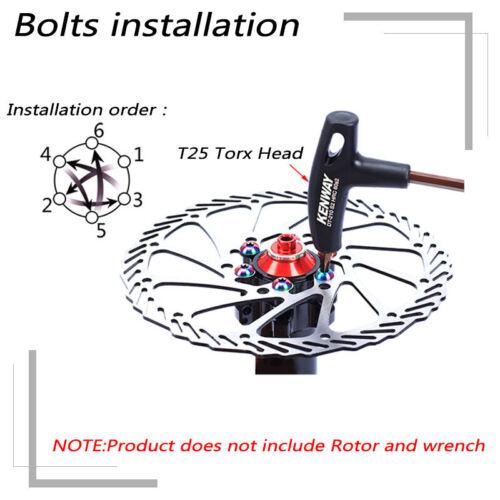 MTB Bike Rotor Screws Disc Brake Rotor 12PCS Bolts CNC Bicycle T25 Torx Wrench