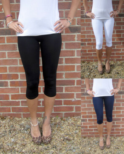 KNEE LENGTH Womens Leggings COTTON Stretch Gym SIZE 8 10 12 14 16 18 20 22 24 26