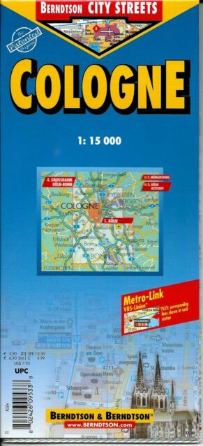 Map Of Cologne Germany Laminated Folded By Berndston Maps For Sale