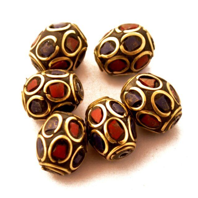 Coral Lapis Brass 6 Beads Tibetan Nepalese Ethnic Tribal Handmade Nepal BD3280
