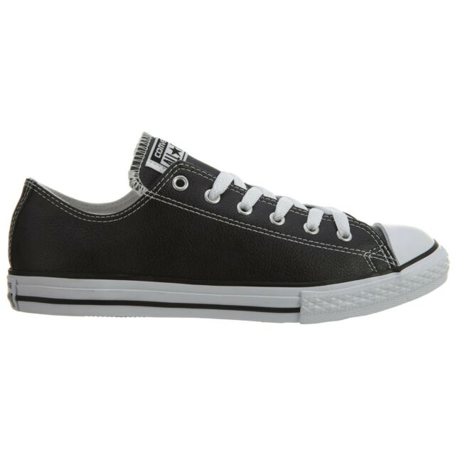 618859038ac98 Converse (k) All Star Low Leather 609057c Black White Kids US Size 2.5 Euro  34