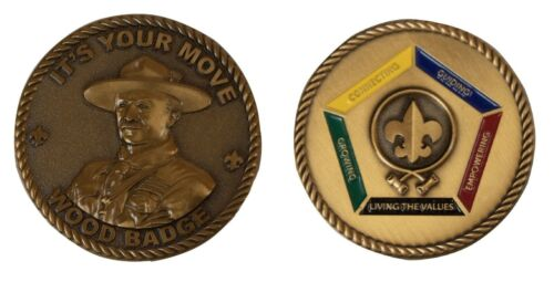 Boy Scout Official Color Wood Badge Challenge Coin Baden Powell Its Your Move OA