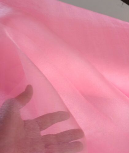 """Organza Sparkle Bubble Gum Pink 60/"""" wide free swatches. Party or craft supply"""