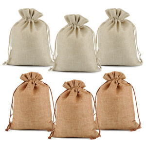 25-50-100-Wedding-Hessian-Burlap-Jute-Favour-Gift-Bags-Jewelry-Drawstring-Pouch