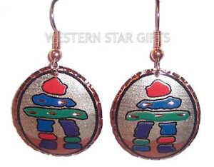 Inukshuk-Copper-Earrings-Silver-Plated-Handmade-Eskimo-Jewelry-Inuit-Pendant-New