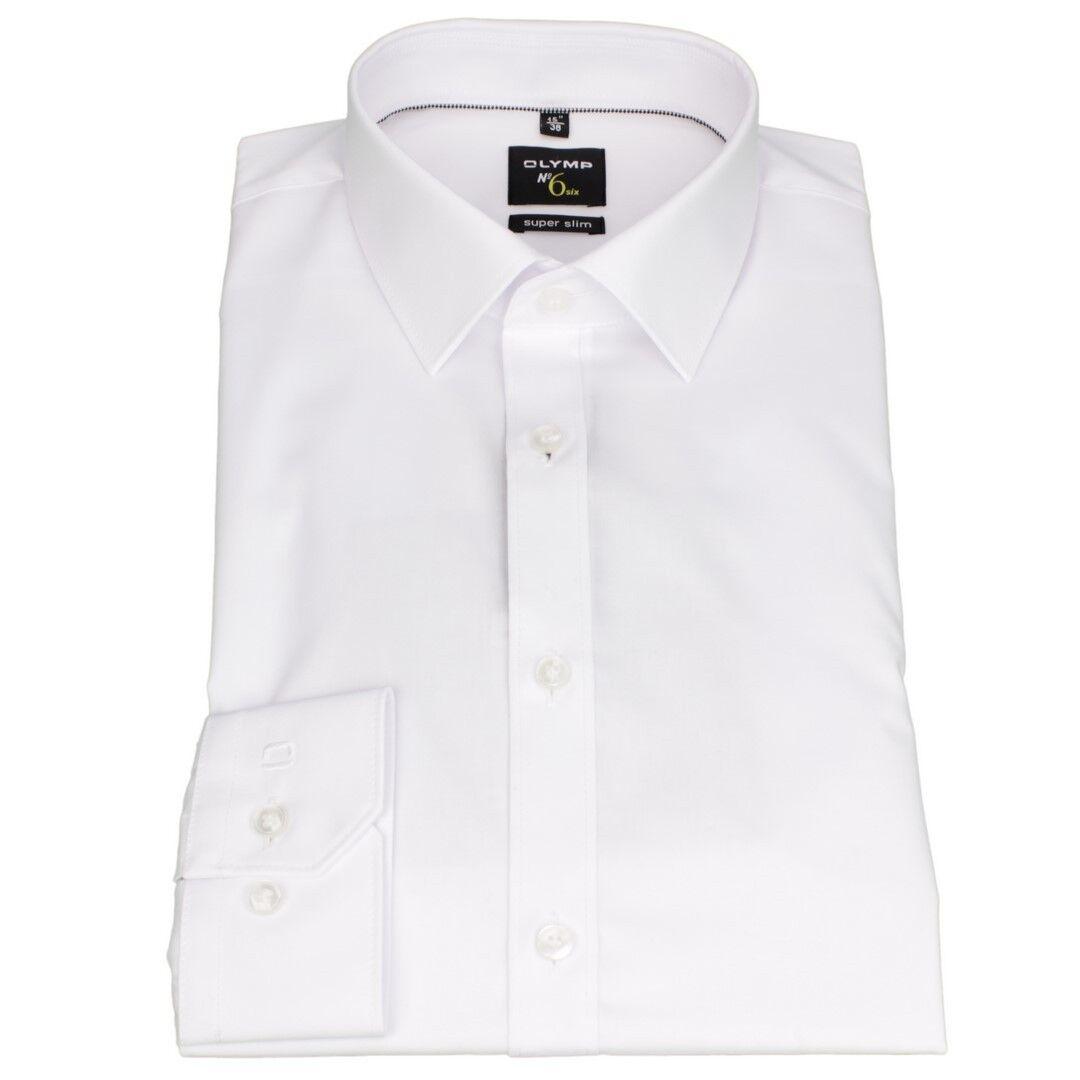 Olymp súper Slim Camisa No.6 blancoo Liso 0466 64 00   directo de fábrica