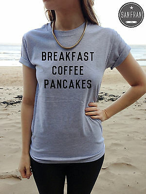 * Breakfast Coffee Pancakes Lovely T-shirt TUMBLR Fashion Bloggers Shirt Top *