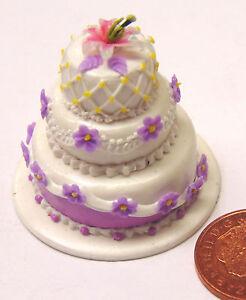 1 12 Scale 3 Tier Wedding Cake With Flowers Tumdee Dolls House