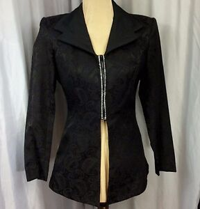 Cache-Black-Jacquard-Paisley-Jacket-8-Rhinestones-Trapunto-Stitch-Peplum-Vtg