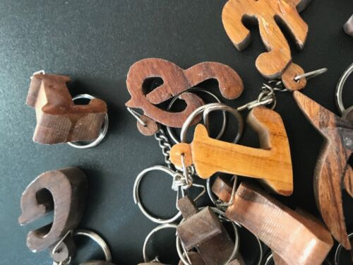 Small Wooden Letters Alphabet Key Ring Initial Letter Keyring 9mm Thick Wood