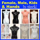 Glossy Female Male Kids Child Mannequin Torso Display Hand White Black Skin Tone