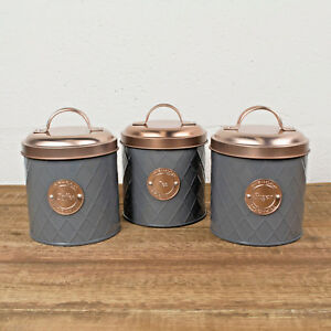 Typhoon-Tea-Coffee-Sugar-Canister-Jars-Set-Kitchen-Storage-Copper-Lid-1-Litre