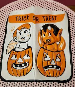 Vintage-Rare-Halloween-3D-Plastic-1960s-Trick-or-Treat-Bag-Devil-Angel-As-Is