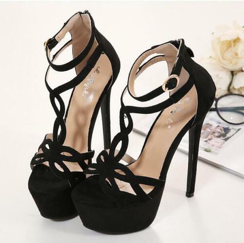 Femmes Talons Hauts Stiletto Plateforme Bride Cheville Hollow Out solide Sandales Chaussures