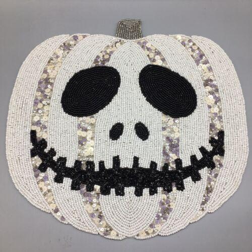 "Secret Celebrity Halloween Beaded Skeleton Jack o Lantern Pumpkin Placemat 15/"""