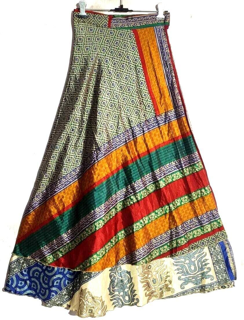 Vintage Seide Sari Rock Indisch Seide Saree Hippie Magic Damen Kleid Rock