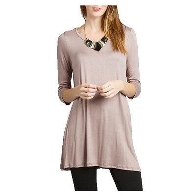USA Womens Dolman Tunic Top Boatneck 3/4 Sleeve Dress Knit Blouse S M L PLUS