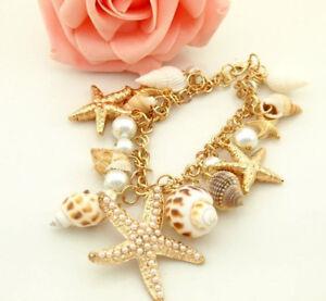 Women-039-s-Ocean-Multi-Starfish-Sea-Star-Conch-Shell-Pearl-Chain-Beach-Bracelet