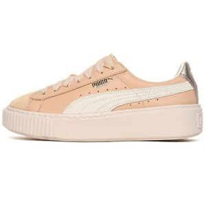 PUMA-PLATFORM-UP-Wn-039-s-sneakers-donna-PELLE-e-SUEDE-Natural-Vachetta-Birch-110