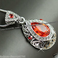 Rare Orange Crystal Necklace Valentines Day Gifts For Her Girlfriend Wife Women