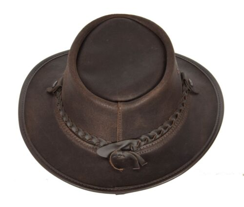 Original Australian Bac Pac Traveller Cowboy BC Hat Real Leather Bush Hat Brown