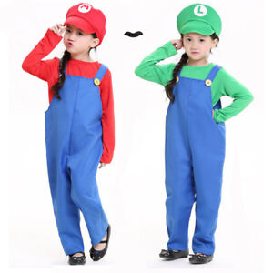 Kids Super Mario Luigi Brothers Costume Boys Girls Games Party