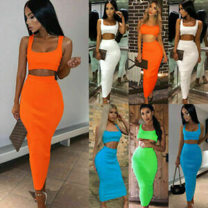 Women-Maxi-Skirt-Crop-Top-Two-Piece-Set-Dress-Ladies-Bodycon-Co-ord-Knit-UK-8-14