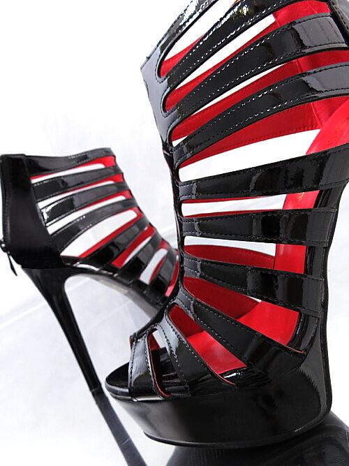 NEU SEXY LACK SCHWARZ HOHE Stiefel Damen O74 Heels Sandalen Pumps Schuhe High Heels O74 36 02e871