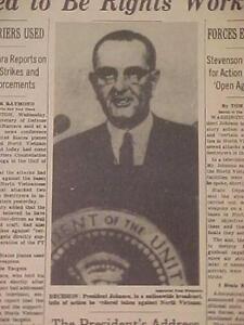 Details about VINTAGE NEWSPAPER HEADLINE~PRESIDENT JOHNSON PLANES BOMB  NORTH BASES VIETNAM WAR