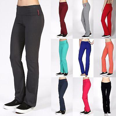 Soft Comfy YOGA PANTS Flare Bottom Foldover Waist Gym Athletic Lounge S-3X