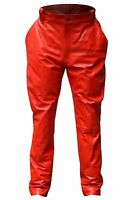 Men's Red Leather Jodhpurs Pant Trouser With 2 Side Hand Pockets All Sizes