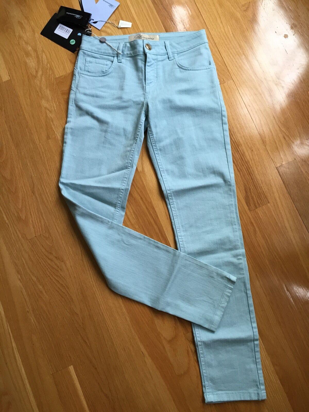 NWT Blaumarine Blau Rhinestone Logo Pants Größe 40IT