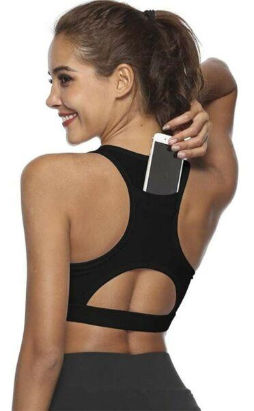 Sport-BH mit Handytasche Bustier Yoga Joggen Training Fitnessstudio Größe 36