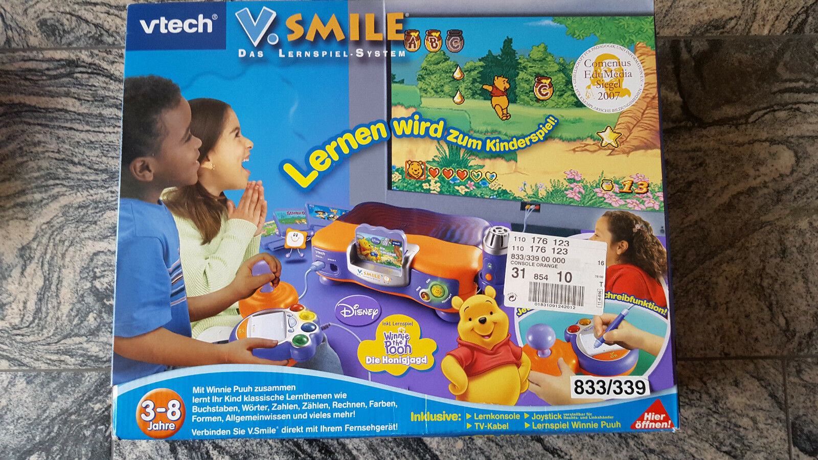 Vtech Vsmile Konsole plus 5 Spiele, gebraucht; OVP; gratis Origin Vtech Netzteil