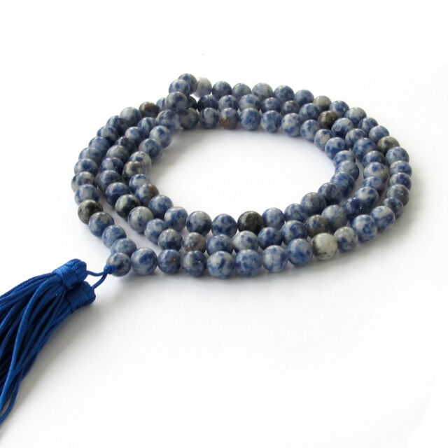 8mm Tibet Buddhist 108 Natural Gemstone Prayer Beads Mala Necklace