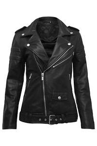 femme élégante noir noir cuir cuir Veste pour motard de en en n0WAPPTOq