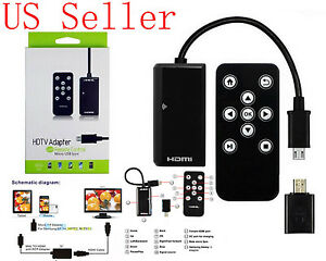 MHL HDMI HDTV Cable adapter w/ remote control for Samsung Galaxy Mega 6.3 i9200