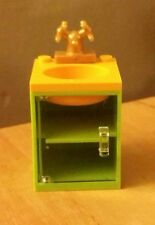 LEGO City Custom Furniture Belville BATHROOM SINK Lime & Clear Door Gold Faucet