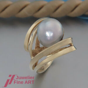 ausgefallener-Ring-mit-1-Suesswasser-Zucht-Perle-grau-14K-585-Gelbgold