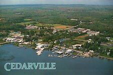 Cedarville Michigan, Aerial View of Boating, Lake Huron, etc. MI --- Postcard