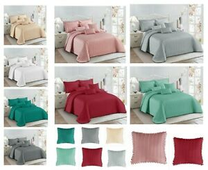 3pcs Quilted Beautiful Pom Pom Bedspread Comforter Throw Set With 2Pillow Shams