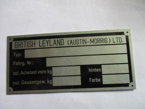 Nameplate Austin Morris Mini Cooper British Leyland Sign Id Plate s49