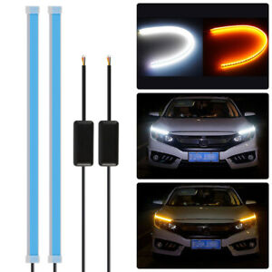 2PCS-Flexible-60cm-LED-Turn-Signal-Strip-DRL-Headlight-White-Amber-Lights-LD1847
