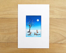 ACEO WATERCOLOUR PAINTING, ART CARD BY SARAH FEATHERSTONE, Hares In Moonlight